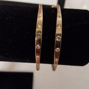 Gold Rhinestone Periced Earrings